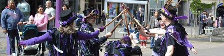 Picture of us dancing in the Town Centre near the Sock Man. May 2015